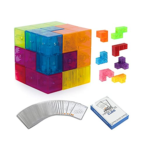Magnetic Building Blocks Magic Magnetic 3D Puzzle Cubes, Set of 7 Multi Shapes Magnetic Blocks with 54 Guide Cards, Children's Educational Toys and Stress Relief Fidget Toys for Kids Adults