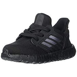 adidas Ultraboost 20 Running Shoe, Black/Black/Solar Red, 4 US Unisex Big Kid