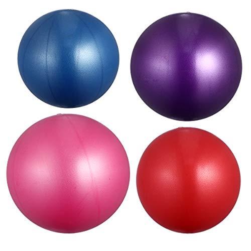 Abaodam 4 pelotas de yoga esmeriladas de espesor, antiestallidos, para fitness, gimnasia, gimnasia, etc. (15-35 cm, tamaño al azar, rojo, rosa, azul y morado)