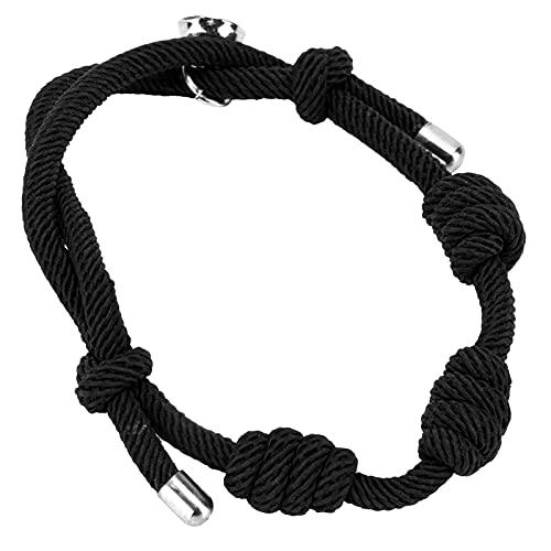 Cuerda de Milán, Pulsera de Milán Tejida a Mano para protección y Suerte(Negro)