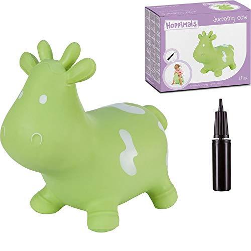 Hoppimals Tootiny Hüpfende Kuh Space Hopper für Kinder - Hüpftier ab 1 Jahr und älter - Verpackt im Geschenkkarton, inklusive Pumpe - Reiten auf aufblasbaren Tieren, Baby-Hüpfer – GRÜN