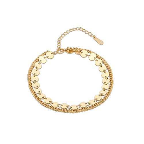 Monily Layered Coin Bracelet S925 Sterling Silver Disc Chain Bracelet for Women 14K Real Gold Plated