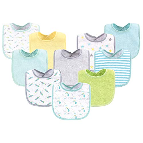 Luvable Friends Unisex Baby Cotton Terry Bibs, Neutral Elephant Stars, One Size