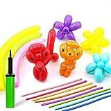 HappyHapi 150 Stücke Magic Luftballons Mehrfarbig mit 1 Luftpumpe DIY Modellierballons Lange Ballons für Party Birthday Kindergeburtstag Hochzeit Weihnachten und Dekoration