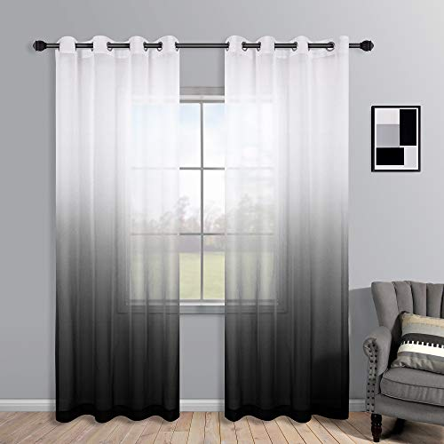 Black Curtains 95 Inches Long for Living Room Curtains 2 Panels Set Grommet Faux Linen Semi Voile Window Sheer Ombre Silver Black Drapes for Bedroom 52x95 Length