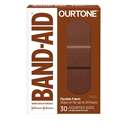 Band-Aid Brand Ourtone Flexible Fabric Adhesive Bandages, Flexible Protection & Care of Minor Cuts & Scrapes, Quilt-Aid Pad for Painful Wounds, BR55, Assorted Sizes, 30 Count