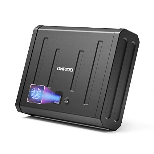 OWSOO Gun Safe for Pistols, Pistol Safe Handgun Safe Quick-Access with Biometric Fingerprint or Key Lock, Security Firearm Safe for Home