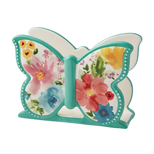 PW Pioneer Woman Stoneware Butterfly Napkin Holder Floral