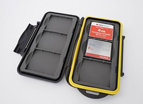 ✅ En este caso extremadamente robusto, se pueden transportar o almacenar de manera segura hasta seis tarjetas de memoria. La caja tiene un inserto de goma que absorbe los golpes en la parte inferior y en la tapa de la cubierta con huecos de ajuste pr...