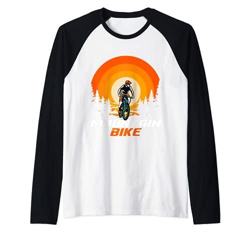 Bicicleta de montaña Retro Camiseta Manga Raglan