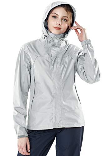 TSLA Women's Waterproof Rain Jackets, Lightweight Breathable Raincoat with Hood, Outdoor Hiking Windbreaker, Rainjacket 3layer(fet32) - Silver & Silver, Small