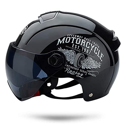 Casco Moto Abierto, Retro Cascos Moto Half Helmet Media Casco de Protección con Visera, ECE Homologado Casco Moto Jet para Scooter Mofa Crash (Color : Bright Black, Size : (50-64cm))