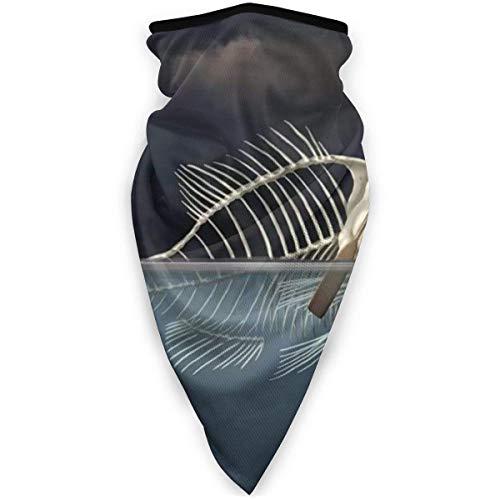 Lzz-Shop Hombre pescando un Barco Esqueleto de Pescado en el Cuello del mar Polaina Calentador a Prueba de Viento Bufanda Deportiva al Aire Libre