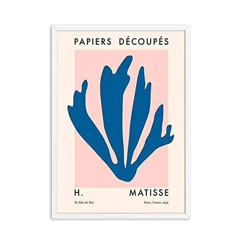 Vintage Henri Matisse pintura abstracta mínima ilustración pared arte cartel beige impresiones familia sin marco lienzo pintura A2 50x75cm