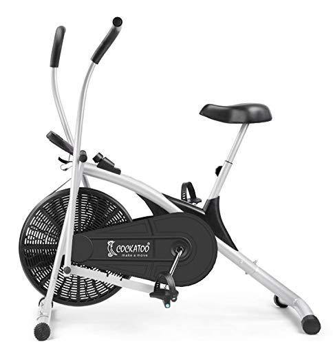 Cockatoo AB06 Stainless Steel Exercise Bike with Moving Handle and Adjustable Cushioned Seat, Black/Silver (DIY, Do It Yourself Installation)