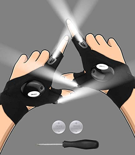 LED Flashlight Gloves Gifts for Men Dad Husband Boyfriend Hands Free Light Gadgets Tools for product image