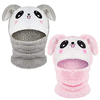 Pack of 2 Kids Bunny Ears Winter Windproof Hat- Pink & Gray Warm Fluffy Fleece Winter Windproof Hat Scarf Neck Warmer Earflap Plush Hood Beanie for Cold Weather Toddlers Boys Girls Outdoor Sports