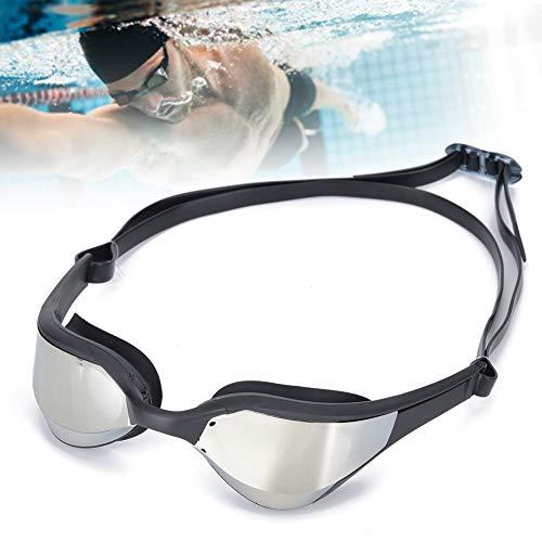 Pinsofy Gafas de natación Unisex para Adultos, Gafas de natación respetuosas con Piel con 3 Colores Diferentes para Nadar para Adultos(Marco Negro Plateado, Tipo de Amor)