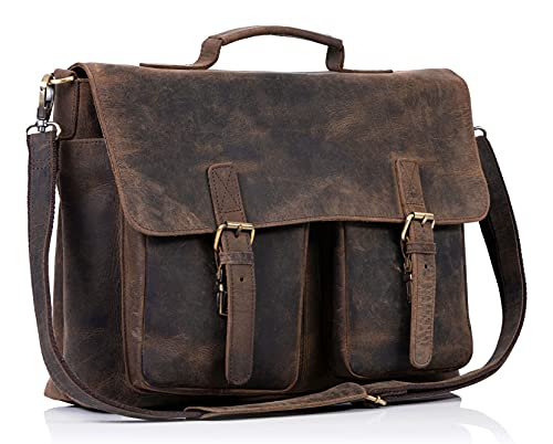 KomalC 16 Inch Buffalo Leather Briefcase Laptop Messenger Bag Office Briefcase College Bag