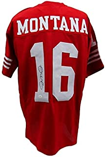 Joe Montana San Francisco 49ers Autographed/Signed Red Jersey JSA 135663