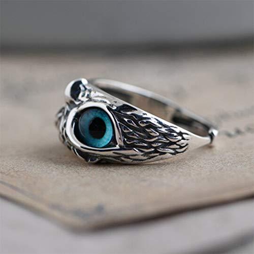 Kaijia Anillo de plata de ley 925 con diseño de búho de ojo de demonio retro vintage para hombres y mujeres, anillo de banda ajustable, tamaño 8-10