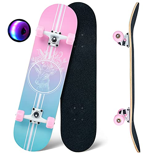CLYCTIP Skateboards,31 x 8 inch Complete Skateboard for Beginners,8 Layer Maple Concave Cruiser Trick Skateboard for Teens and Adults (pink-blue)