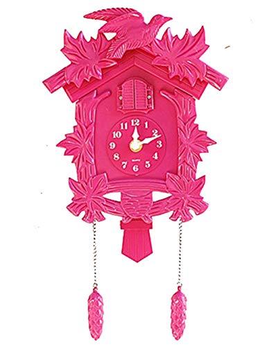 Orologio da parete per soggiorno, con uccellini, a cucù, sveglia, per bambini, decorazione per casa, giorno e giorno, sveglia, da parete (rosa)