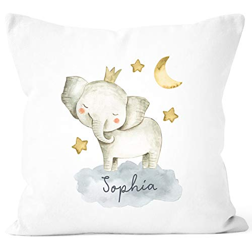 SpecialMe® Kissen-Bezug mit Namen Wunschname Tier-Motive Nashorn Löwe Elefant Watercolor Namenskissen Kinder Baby Elefant weiß Unisize