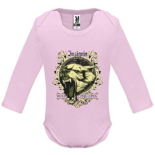 Body bébé - Manche Longue - Canis Lupus - Bébé Fille - Rose - 6MOIS