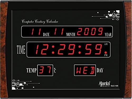 Ajanta Quartz Digital Red LED Plastic Rectangle Wall Clock (Black, 39.6 cm x 29.6 cm x 3.5 cm)