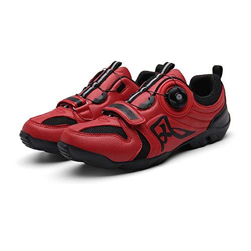 SHEHUIREN MTB Road Fahrrad Schuhe Männer Frauen Belüftung Radfahren Schuhe Geeignet Für Radfahren Walking Gummi Laufsohle,Rot,48