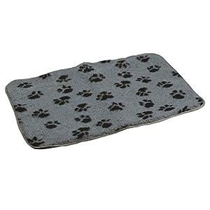 vanRiel Tapis pour chien à imprimé pattes de chien Gris