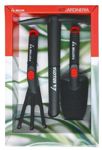 Bellota 2994 - Kit de jardinería y huerto que incluye: rastrillo, transplantador y azuela, herramienta pequeña de jardin