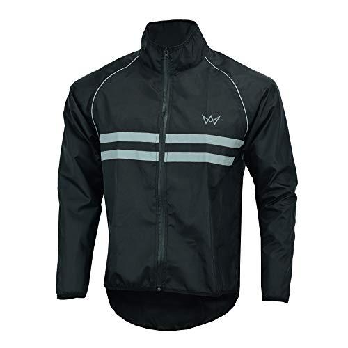 APEXWEAR Mens Cycling Jacket High Visibility Waterproof Running Top Rain Coat S to 2XL BLACK LARGE