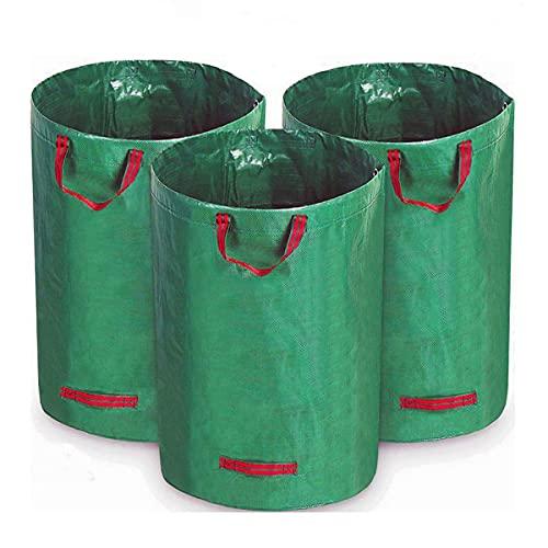 3 x 272L sacchi per rifiuti da giardino, impermeabile resistente grandi sacchi pattumiera con manici, pieghevole e riutilizzabile