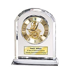 Diamond Cut Marquee Arch Clear Crystal Engraved Gold Gear Luxury Desk Clock Executive Employee Service Retirement Gift Anniversary Glass Table Top