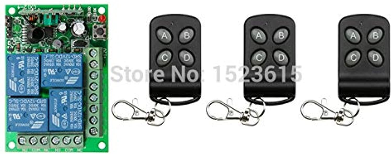 DC12V 4CH 10A Wireless Remote Control Switch System teleswitch 3X Transmitter + 1X Receiver Relay Smart House zWave