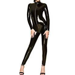 HOTFIRE Women's Wet Look Long Sleeve Bodysuit Zip Front to Butt Sexy Catsuit