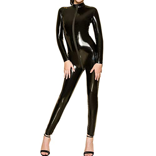 HOTFIRE Women's Wet Look Long Sleeve Bodysuit Zip Front to Butt Sexy Catsuit (Black)