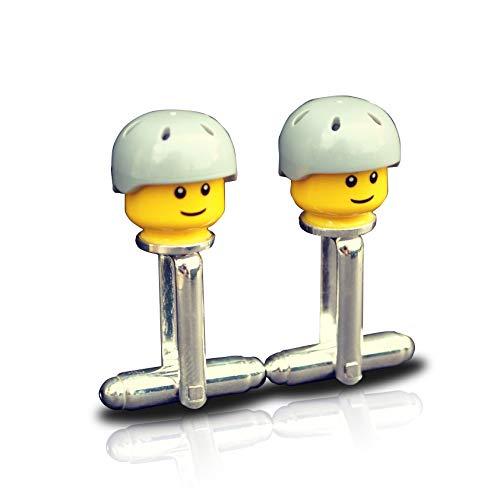 BMX Biker Skateboard Manchetknopen Handgemaakt van Lego® Minifiguur Hoofden, bruiloft, Groom, Heren nieuwigheid, Gift Bag