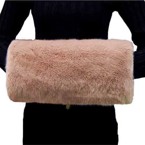 ShineGown - Manicotti in morbida pelliccia sintetica, da donna, invernali albicocca Taglia unica
