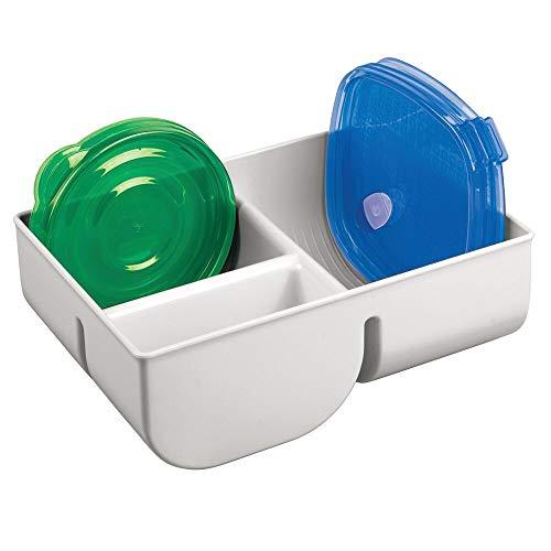 mDesign Organizador de Tapas con 3 Compartimentos – Cesta de almacenaje de plástico para ordenar Tapas – Cestas organizadoras compactas para tapaderas de fiambreras – Gris Claro