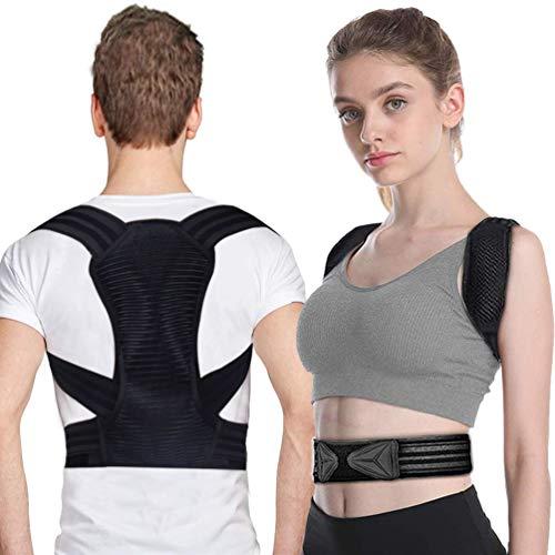 Lachesis Haltungskorrektur, Schultergurt Haltungstrainer Verstellbare Rückenstabilisator für Damen Herren mit 2 Weichen Polster Lindern Schulter, 2 Abziehbaren Schienen Starke Unterstützung