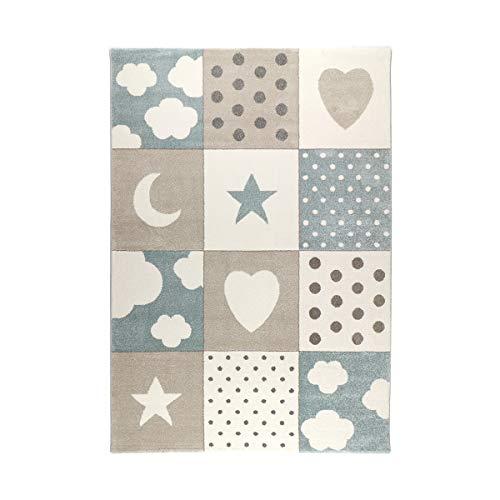 havatex Kinderteppich Karo Mix - Rosa Blau oder Grau   Patchwork Design mit Sternen Herzen Punkten Wolken   Öko-Tex Siegel   für Kinderzimmer Babyzimmer, Farbe:Blau, Größe:80 x 150 cm