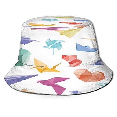 RUEMAT Sombrero Pescador Unisex,Patrón Transparente Vector con Origami Aviones Flores,Plegable Sombrero de Pesca Aire Libre Sombrero Bucket Hat para Excursionismo Cámping De Viaje Pescar