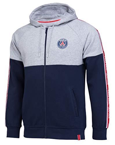Paris Saint Germain - Sudadera con cremallera y capucha para hombre, colección oficial, Hombre, gris, small