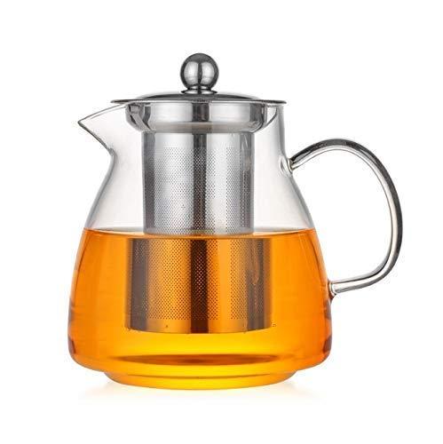 YLJYJ Teteras de Vidrio Transparente 750 ml Tetera de café Resistente al Calor de Alta Temperatura con colador infusor de Acero Inoxidable (Seta de té)