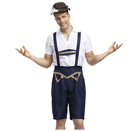 Trachten Set Herren Latzhosen Oktoberfest Kniebundhose Kurz Arbeitshose Mit Herrenhemd Karneval Kleidung Festival Kleidung Cosplay Kostüme Trachtenanzug für Bayerisch,Oktoberfest,Hochzeit