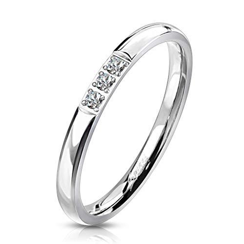 Paula & Fritz® Verlobungs-Ring Silber 2mm breit 3 Zirkonia Kristall Clear farblos Edelstahlring Damen-Ring Freundschaftsring Partnerring R-M7225S_90