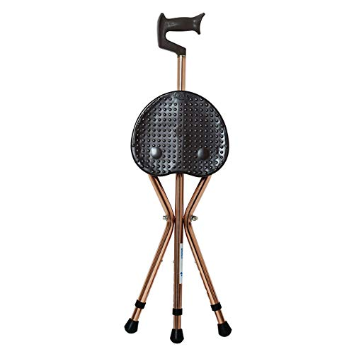 ZBYL 3 Legs Folding Canes with Seat Walking Stick Chair Ergonomic Design 440Lbs Capacity Thick Aluminum Alloy,Brown